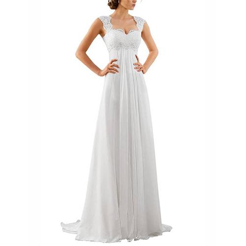 Erosebridal Lace Chiffon Bridal Gown