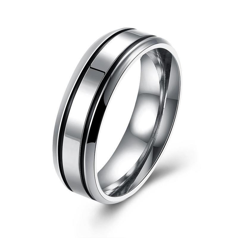 """""""Father's Day Gift Black & Silver Lining Men's Ring """""""