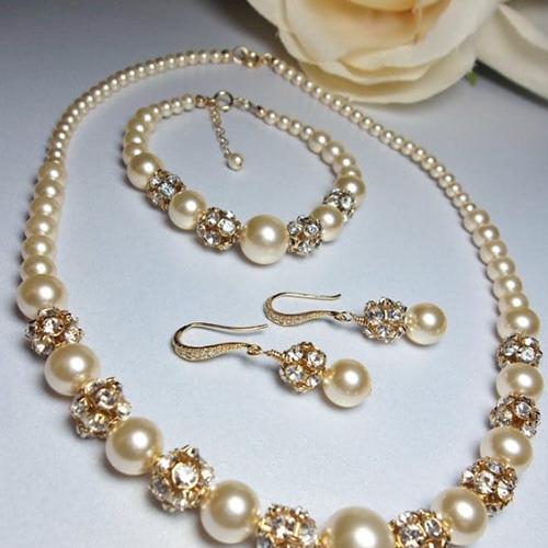 Gold Pearl and Rhinestone Bridal Jewellery Set