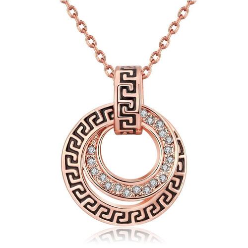 Greek Medallion Crown Necklace In 18k Rose Gold Plated