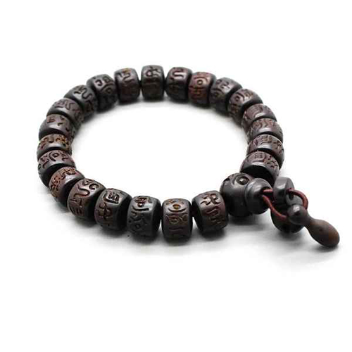 Hand-carved Peachwood Malas Tibetan Buddhist Prayer Bracelet