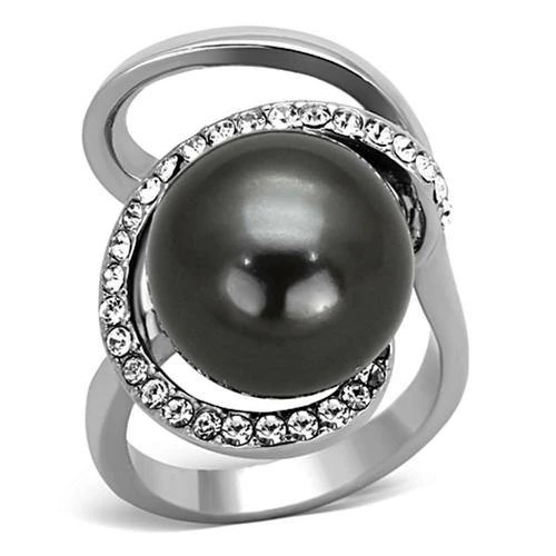 High Polished Stainless Steel Grey Pearl Ring