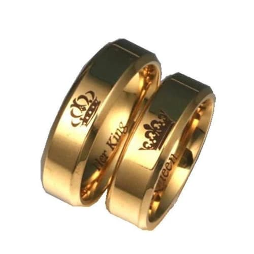 'His Queen, Her King' Couples Ring