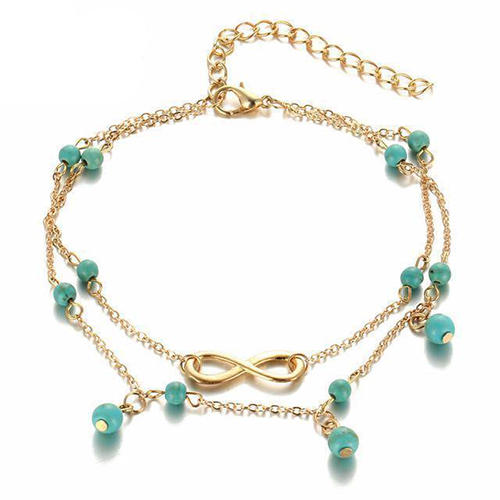 Infinity Charm Turquoise Beads Anklet