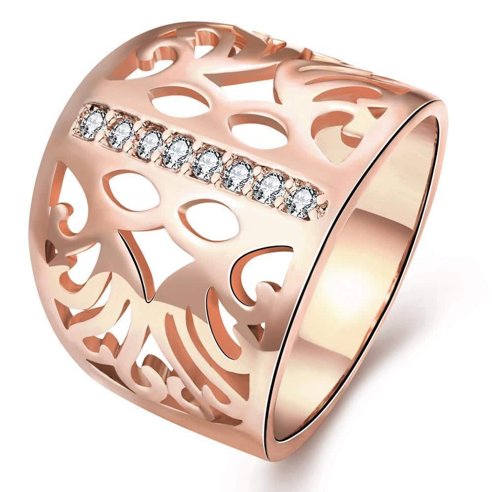 18K Rose Gold Plated Laetitia Cocktail Ring With Swarovski