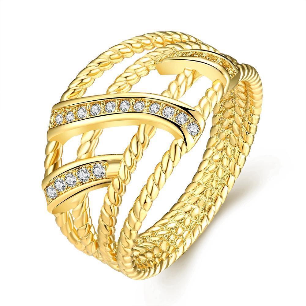 18K Gold Plated Erin Twist Ring With Swarovski Crystals