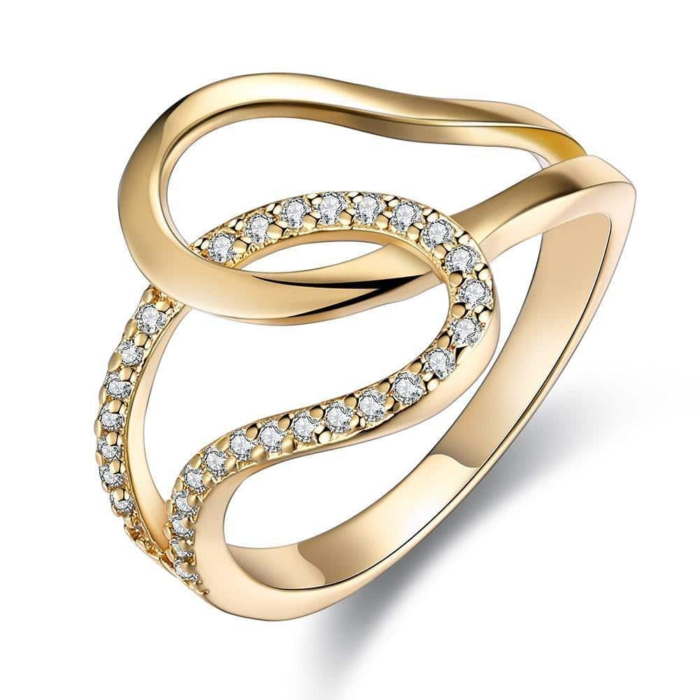 18K Gold Plated Bianca Twist Ringwith Swarovski Crystals