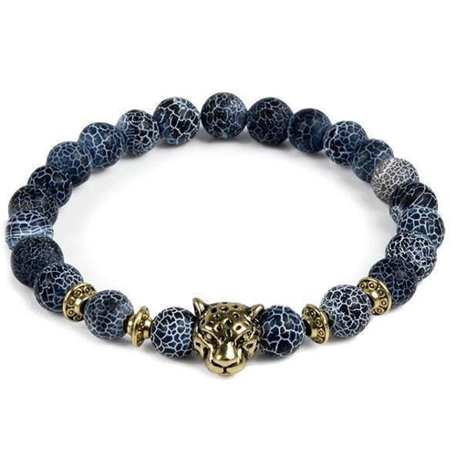Leopard Head Natural Stone Beaded Bracelet
