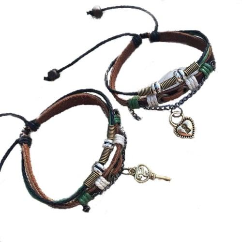 Lock And Key Leather Couple Bracelets