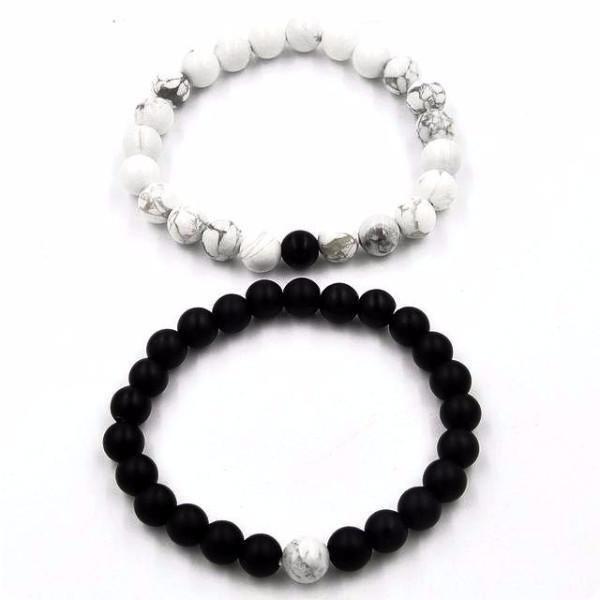Matte Black White Vein Couple Distance Bracelets