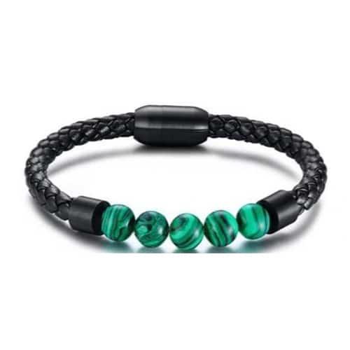 Men's Malachite Charm Leather Beaded Bracelet