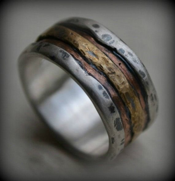 Men's Silver Copper and Brass Wedding Band