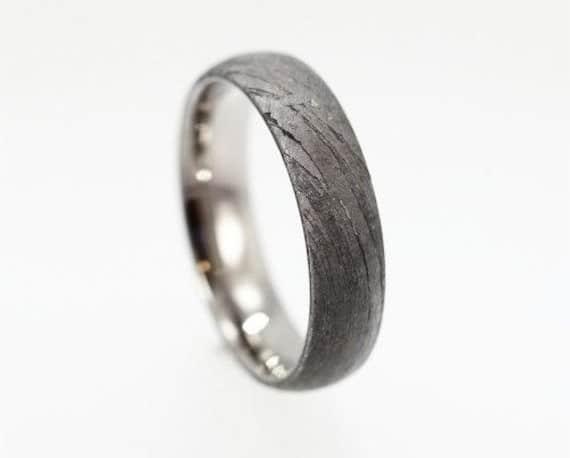 Meteorite Wedding Bands for Men Over Titanium