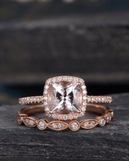 Morganite Cushion Cut Engagement Ring