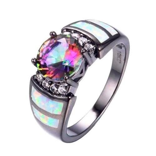 Mystic Rainbow Black Opal Ring