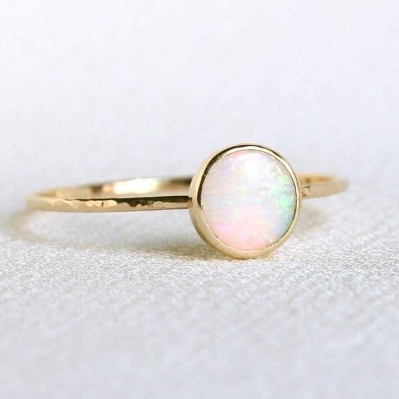 Natural Fiery Opal Orbital Wedding Ring