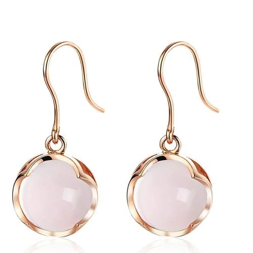 Natural Hibiscus Stone 18K Pure 750 Solid Gold Earrings