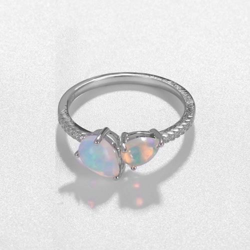 Natural Opal Vintage Sterling Silver Ring