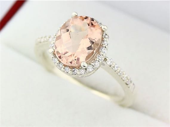 Natural Oval Pink Emerald White Gold Morganite Engagement Ring