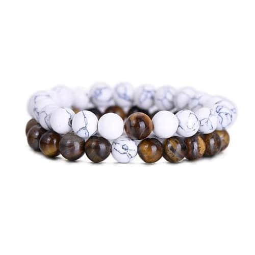 Natural Tiger Eye Stone Couple Distance Bracelets