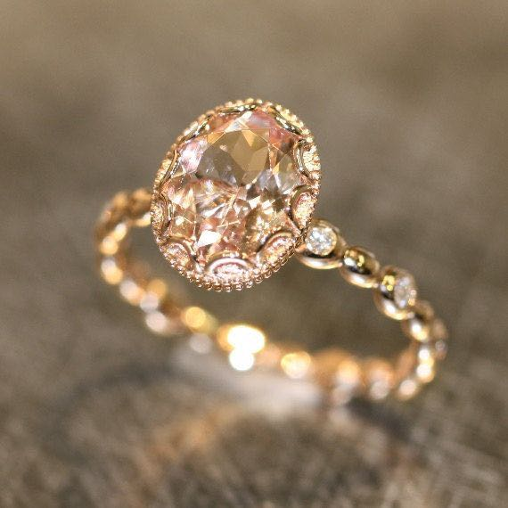 Oval Peach Apricot Rose Gold Morganite Wedding Ring