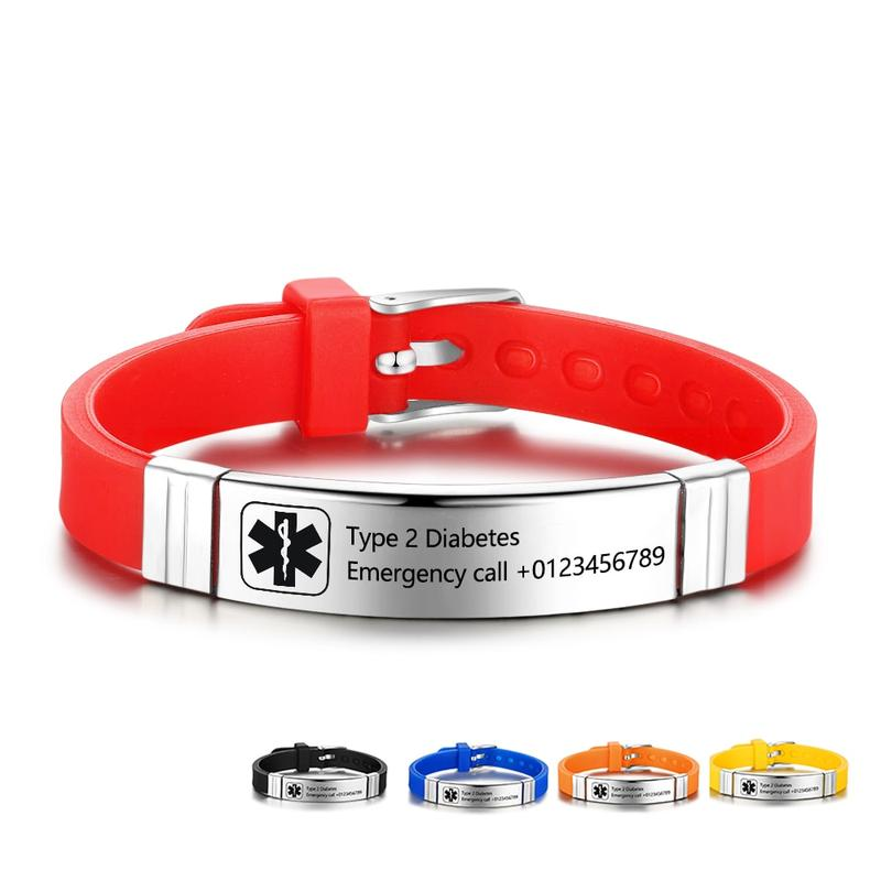 Personalized Stainless Steel Medical Alert Id Silicone Bracelets