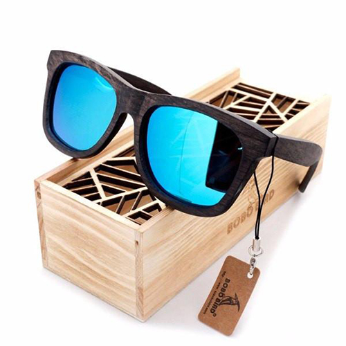 Preppy Wayfarer Bamboo Wooden Sunglasses