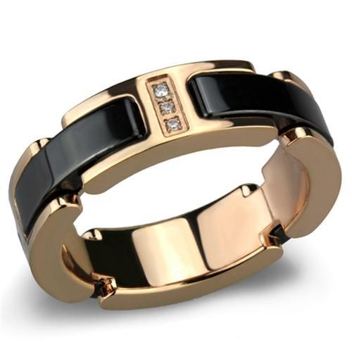 Rose Gold Stainless Steel Ceramic 3 Crystal Ring