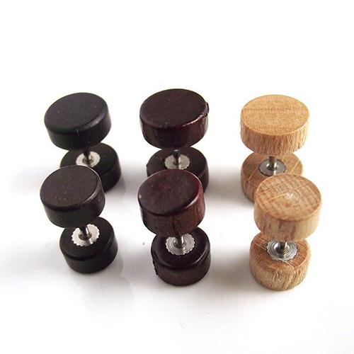 Round Wood Stud Earrings