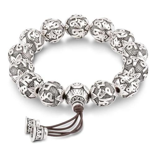 Sacred Lotus Om Mantra Silver Prayer Bracelet