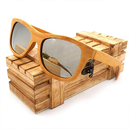 Sand Brown Wayfarer Bamboo Wood Sunglasses