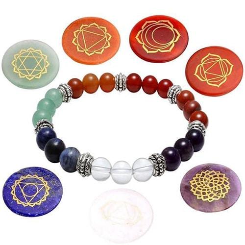 Seven Chakra Beaded Polished Bracelet with 7 Reiki Stones
