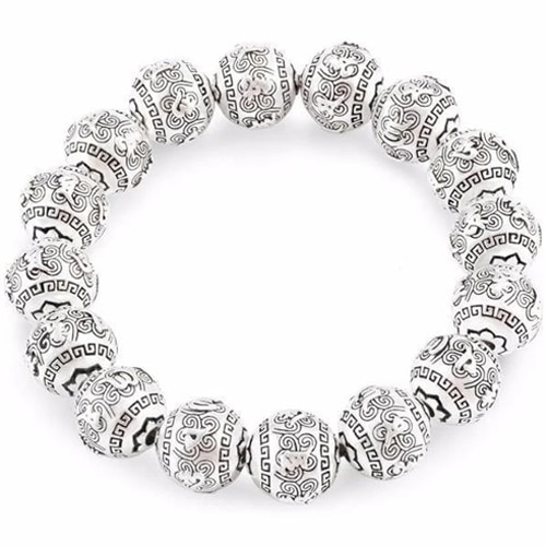 Silver Buddhist Prayer Beaded Bracelet
