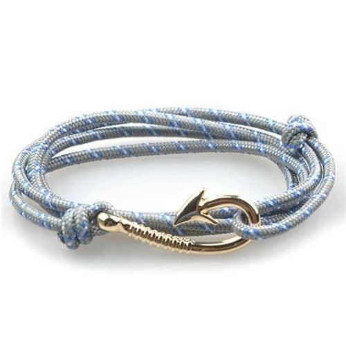 Silver Fish Hook and Rope Men's Bracelet