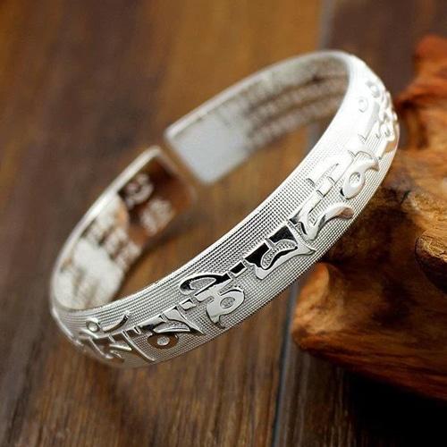 Silver Incantation Tibetan Amulet Bracelet