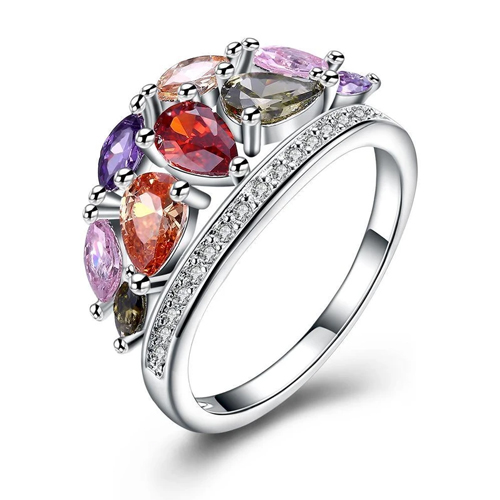 Silver Plated Rainbow Petal Swarovski Ring