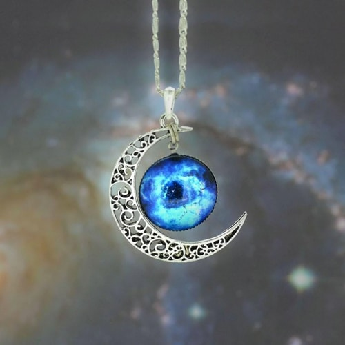 Silver and Glass Galaxy Pendant Necklace