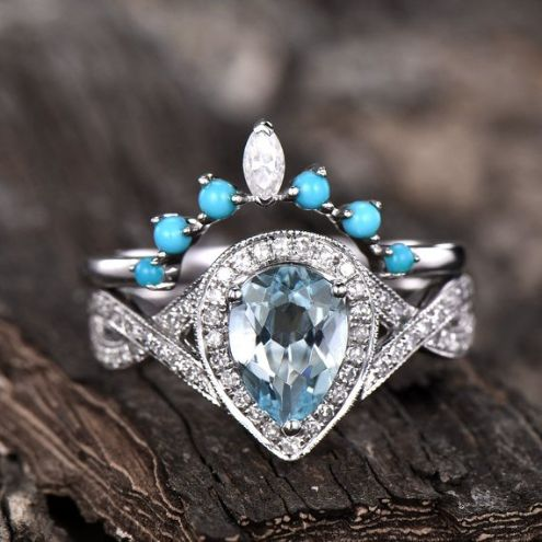Sky Blue Aquamarine Engagement Ring in Platinum with Diamonds in Halo Setting Size 6