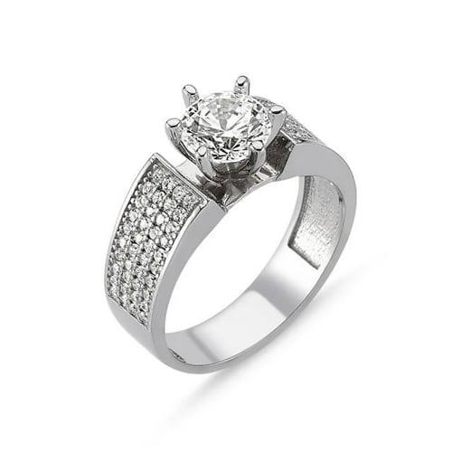 Sterling Swarovski Wide Engangement Ring