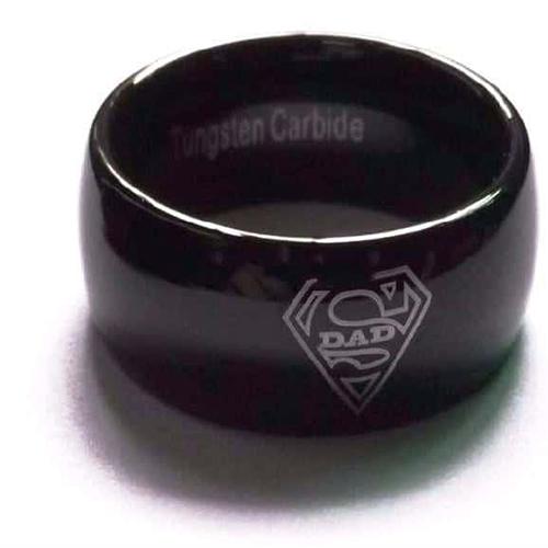 Super Dad Black Tungsten Carbide Ring