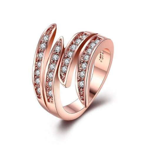 Swirl Cocktail Ring Made with Swarovski in 14K Rose Gold