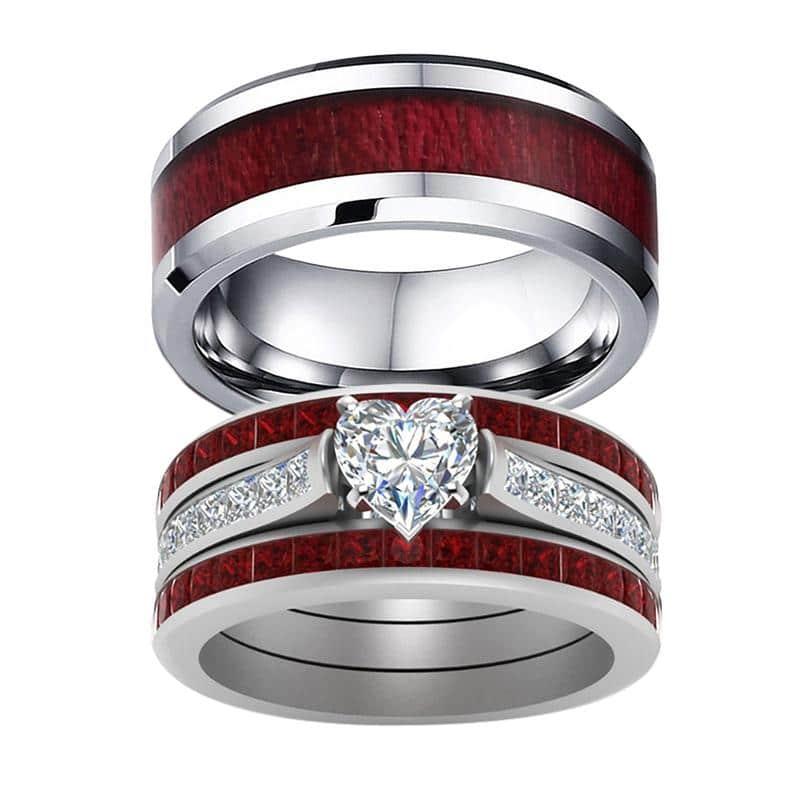 Titanium Wood Couple Ring Set