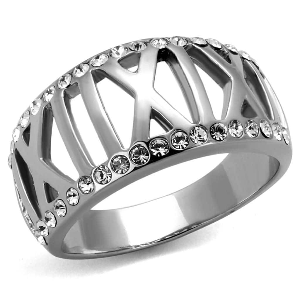 Roman Stainless Steel Crystal Ring