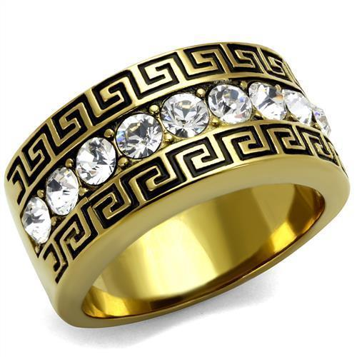 Gold Stainless Steel Crystal Ring
