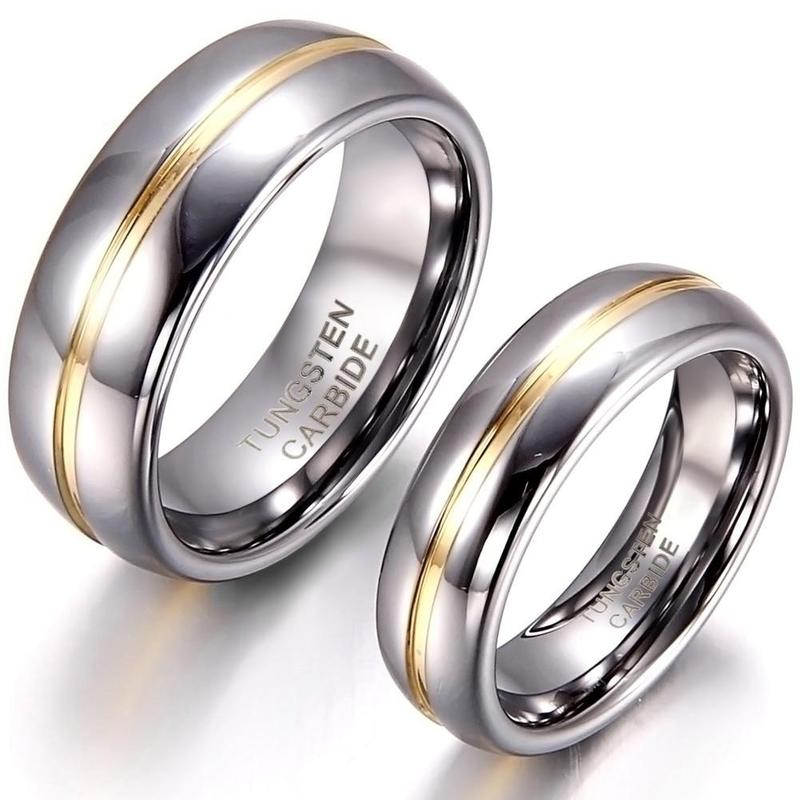 Couple's Set Tungsten Carbide With Gold Detail Ring