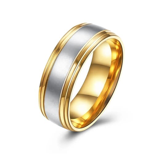 Thick Cut Gold-Tone Stainless Steel Unisex Duo-Toned Band Ring
