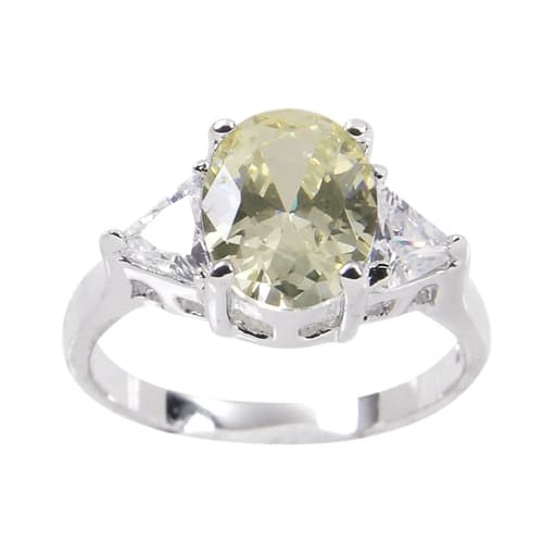 Three Stone Sterling Silver Pale Yellow Trillion Cut Ring