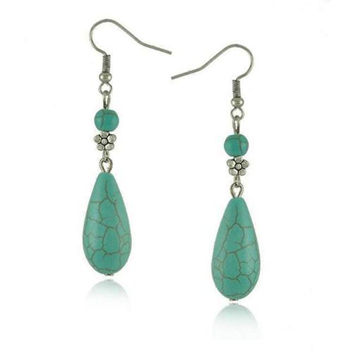 Tibetan Silver Drop Turquoise Earrings