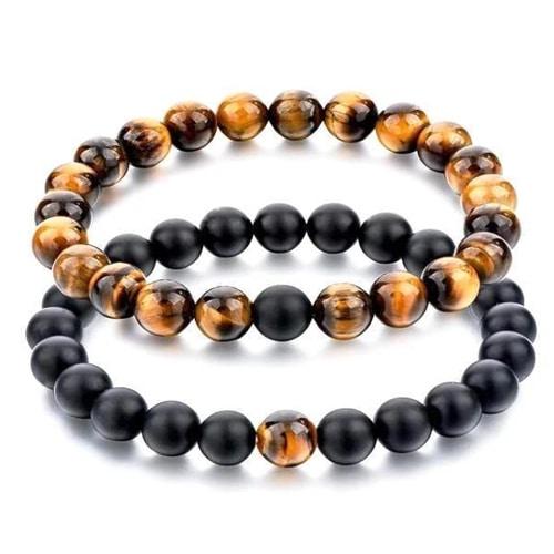 Tiger Eye Stone and Black Matte Agate Distance Bracelets [Set of 2]