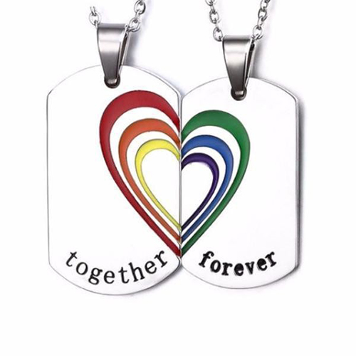 Together Forever Dog Tag Pendant Couple Necklace